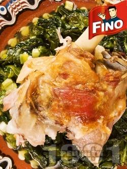 Печено агнешко месо със спанак и пресен лук под фолио на фурна - снимка на рецептата